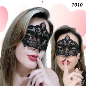 Mascara Sensual com Tiras Para Amarrar Preta-1010