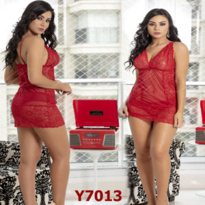 Mini Camisola Sensual em Tulle e Renda Vermelha com Alças Finas e Detalhe com Jóia -Y7013