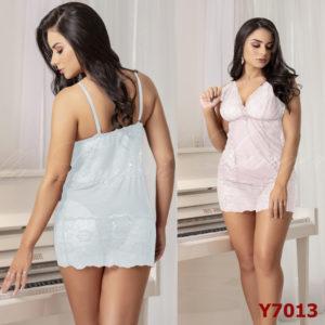 Mini Camisola Sensual em Tulle e Renda Branca com Alças Finas e Detalhe com Jóia Y7013