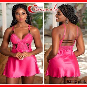 Camisola Sensual Curta com Calcinha Costas Abertas Rosa 2142