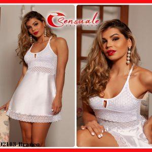 Camisola Sensual Curta com Calcinha Fio Branca em Cetim Tulle e Renda 2143