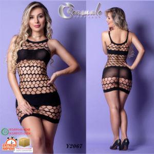 Mini Vestido Rendado Arrastão Y2067-Preto