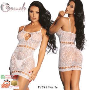 Mini Vestido Rendado Arrastão Y1073-Branco