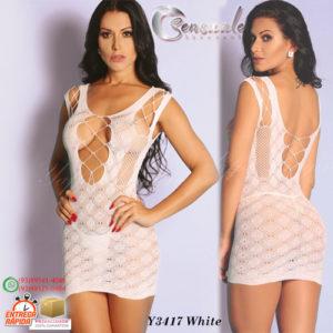 Mini Vestido Rendado Arrastão Y3417-Branco