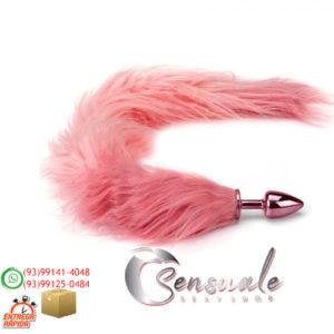 Plug Anal em Metal Cromado Rosa com Calda Raposa Longa Rosa HA112