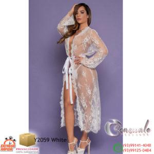 Robe Luxo Longo em Renda e Tule Y2059-Branco