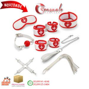 Kit Bondage Enfermeira com 8 Itens em Couro Sintético e Pelúcia MSM1122
