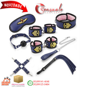 Kit Bondage Policial com 8 Itens em Couro Sintético e Pelúcia MSM1121
